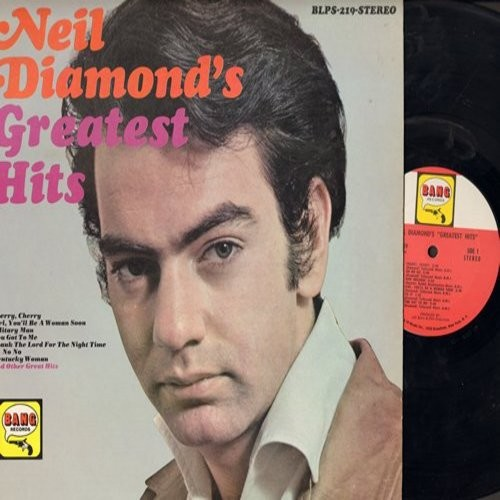 Diamond, Neil - Neil Diamond's Greatest Hits: Cherry Cherry, New Orleans, Red Red Wine, Hanky Panky, Do It, Girl You'll Be A Woman Soon (Vinyl STEREO LP record) - EX8/EX8 - LP Records