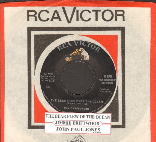 Driftwood, Jimmie - John Paul Jones/The Bear Flew Over The Ocean (with juke box label and vintage RCA company sleeve) - NM9/ - 45 rpm Records