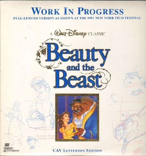 Disney - Walt Disney Classic Beauty And The Beast - Work In Progress - full-length version as shown at the 1991 Mew York Film Festival (2 LASERDISCS, gate-fold cover) - NM9/NM9 - LaserDiscs