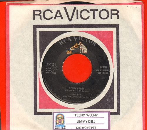 Dell, Jimmy - Teeny Weeny/She Won't Pet (with juke box label and RCA company sleeve) - EX8/ - 45 rpm Records