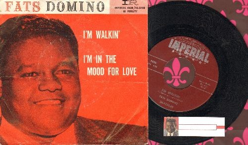 Domino, Fats - I'm Walkin'/I'm In The Mood For Love (maroon label first issue with picture sleeve) - EX8/VG7 - 45 rpm Records