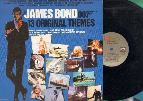 Barry, John, Shirley Bassey, Louis Armstrong, Nancy Sinatra, others - James Bond 007 - 13 Original Themes: Includes the legendary Title Song -Goldfinger- and -Diamonds Are Forever- by Shirley Bassey! (vinyl LP record, 1983 issue of vintage recordings) - E