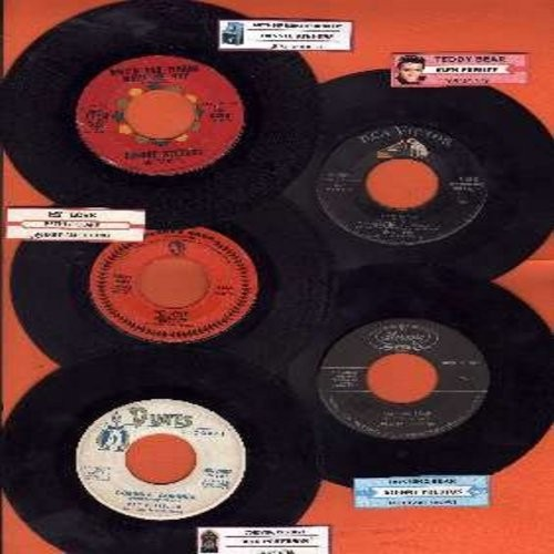 Stevens, Connie, Elvis Presley, Petula Clark, Ray Peterson, Johnny Preston - 5-Pack of Original First-Issue Hit 45s, each with juke box label and plain white paper sleeve. Hit titles include My Love, Teddy Bear, Why'd You Wanna Make Me Cry, Corinna Corinn