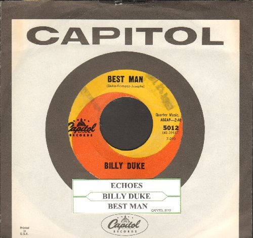 Duke, Billy - Echoes/Best Man (with juke box label and Capitol company sleeve)(wol) - NM9/ - 45 rpm Records