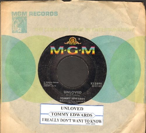 Edwards, Tommy - Unloved/I Really Don't Want To Know (with MGM company sleeve and juke box label) - VG7/ - 45 rpm Records