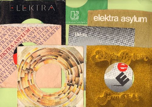 Company Sleeves - 7 Vintage ELEKTRA Label Company Sleeves - Set #012-34 (exactly as pictured!) - Dress up your 7 inch vinyl records in original ELEKTRA company sleeves of the 1950s to 90s. Good to excellent condition. - /EX8 - Supplies
