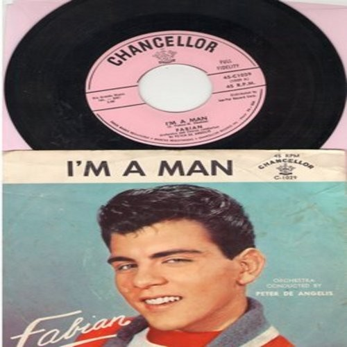 Fabian - I'm A Man/Hypnotized (with picture sleeve, NICE condition!) - EX8/EX8 - 45 rpm Records