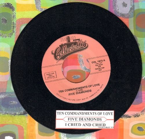 Five Diamonds - Ten Commandments Of Love/I Cried And Cried (re-issue with juke box label) - M10/ - 45 rpm Records