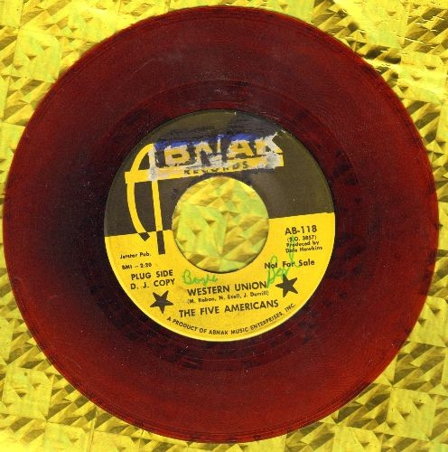 Five Americans - Western Union/Now That It's Over (RARE red vinyl pressing, wol) - EX8/ - 45 rpm Records