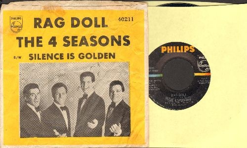 Four Seasons - Rag Doll/Silence Is Golden (with RARE yellow picture sleeve) - EX8/VG6 - 45 rpm Records