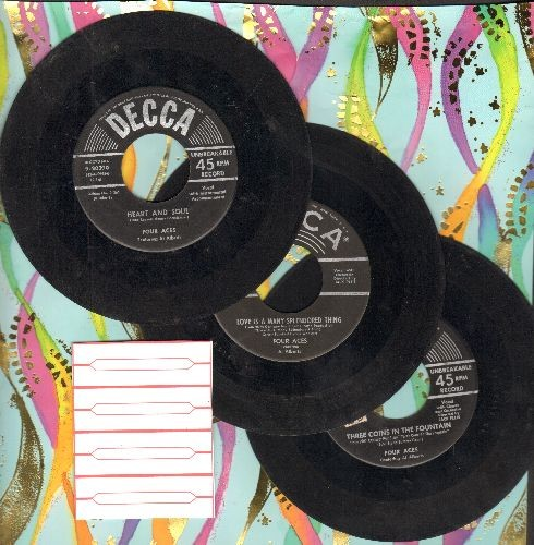 Four Aces - 3-Pack of vintage first pressings includes hits Heart and Soul, Three Coins In The Fountain and Love Is A Many-Splendored Thing (shipped in plain paper sleeves with 4 blank juke box labels). - VG7/ - 45 rpm Records