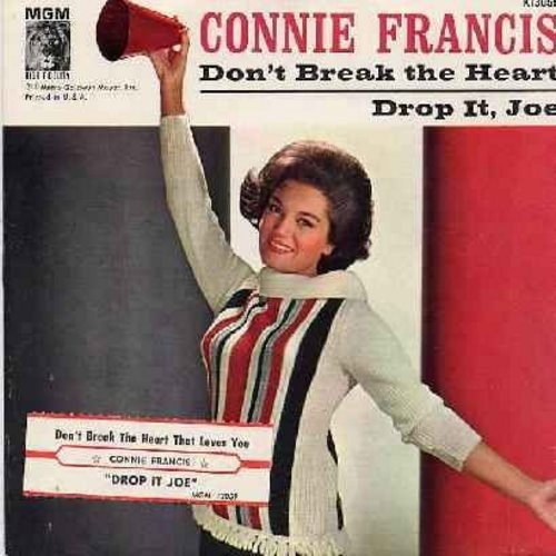 Francis, Connie - Don't Break The Heart That Loves You/Drop It, Joe (Vinyl and picture sleeve with juke box label) - EX8/VG7 - 45 rpm Records