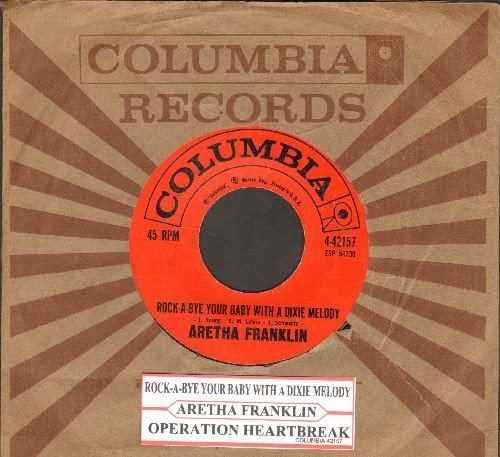 Franklin, Aretha - Operation Heartache/Rock-A-Bye Your Baby With A Dixie Melody (with vintage Columbia company sleeve and juke box label - EX8/ - 45 rpm Records