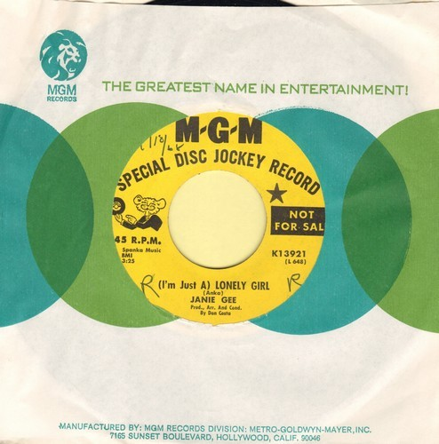 Gee, Janie - (I'm Just A) Lonely Girl (RARE Answer to Paul Anka Hit -Lonely Boy-)/Talk To The Animals (DJ advance pressing with MGM company sleeve) - NM9/ - 45 rpm Records