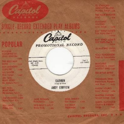Griffith, Andy - Carmen (Parts 1 + 2) (white label first issue DJ advance copy with vintage Capitol company sleeve) - EX8/ - 45 rpm Records