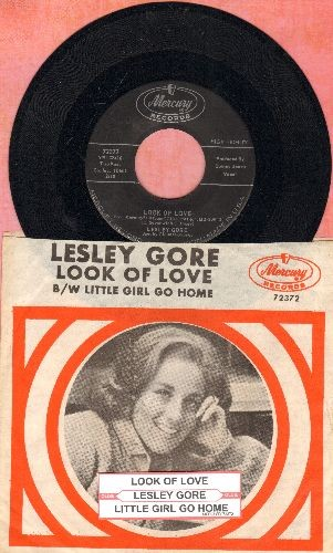 Gore, Lesley - Look Of Love/Little Girl Go Home (with RARE picture sleeve and juke box label, NICE condition!) - NM9/NM9 - 45 rpm Records