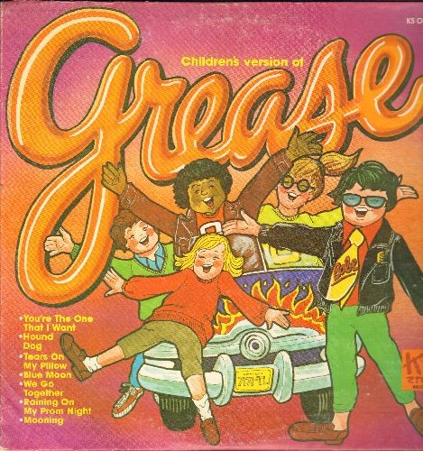 Grease - Grease - Children's Version: Blue Moon, Tears On My Pillow, We Go  Together, You're The One That I Want (Vinyl LP record) - EX8/VG7 - LP