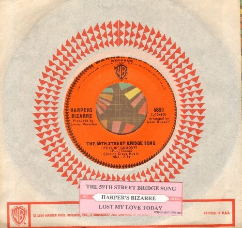 Harpers Bizarre - The 59th Street Bridge Song/Lost My Love Today (with juke box label and Warner Brothers company sleeve) - NM9/ - 45 rpm Records