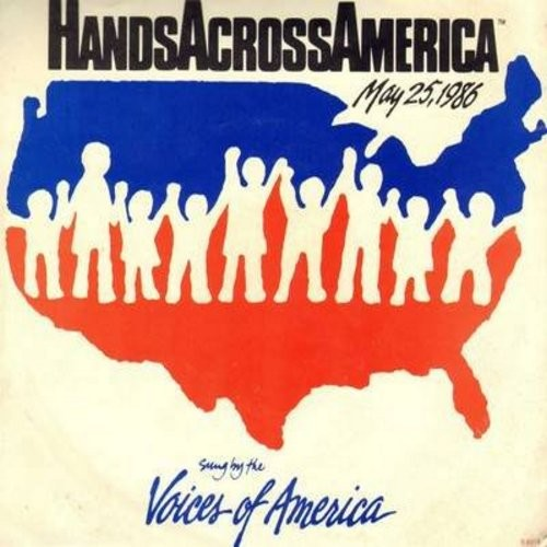 Voices Of America - We Are The World/Hands Across America (with picture sleeve) - NM9/VG7 - 45 rpm Records