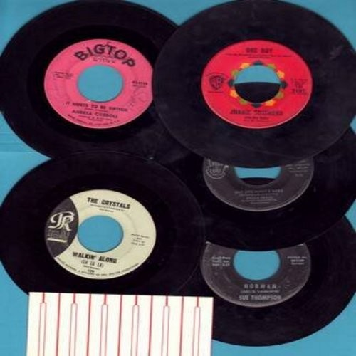 Thompson, Sue, Andrea Carroll, Joanie Sommers, Della Reese, The Crystals - Girl-Sound 5-Pack: 5 vintage first issue 45s, all in very good or better condition shipped in white paper sleeves with a strip of 6 blank juke box labels. Hits include Norman, One