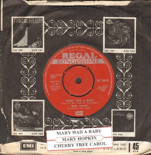 Hopkin, Mary - Mary Had A Baby/Cherry Tree Carol (British Pressing, removable spindle hole, with juke box label and company sleeve) - NM9/ - 45 rpm Records