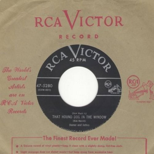 Homer & Jethro - (How Much Is) That Hound Dog In The Window/Pore Ol' Koo-Liger (with RCA company sleeve) - EX8/ - 45 rpm Records