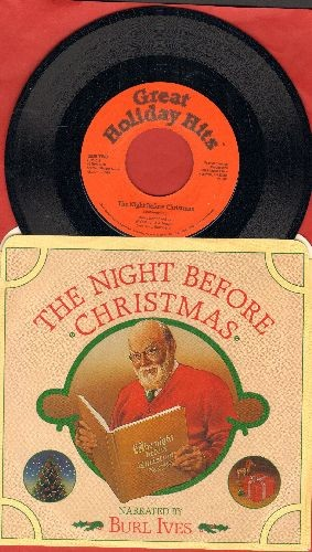 Ives, Burl - The Night Before Christmas (Narrated by Burl Ives)/The Night Before Christmas (Instrumental) (with picture sleeve) - NM9/NM9 - 45 rpm Records