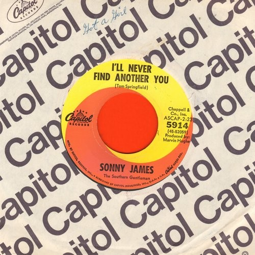 James, Sonny - I'll Never Find Another You/Goodbye, Maggie, Goodbye (with Capitol company sleeve) - VG7/ - 45 rpm Records