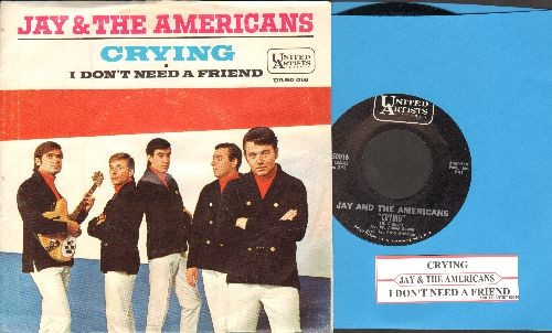 Jay & The Americans - Crying/I Don't Need A Friend (with picture sleeve and juke box label) - NM9/EX8 - 45 rpm Records