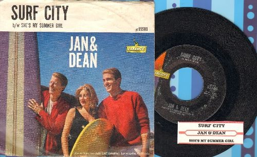 Jan & Dean - Surf City/She's My Summer Girl (with picture sleeve and juke box label) - EX8/VG7 - 45 rpm Records