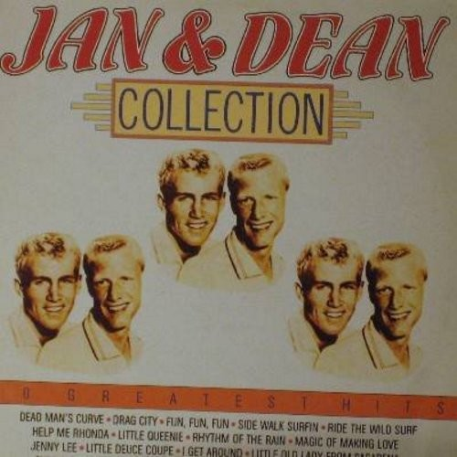 Jan & Dean - Jan & Dean Collection - 20 Greatest Hits: Dead Man's Curve, Rhythm Of The Rain, I Get Around, Little Queenie, Help Me Rhonda, Surf City (Vinyl STEREO LP record, 1985 issue of vintage recordings) - NM9/EX8 - LP Records