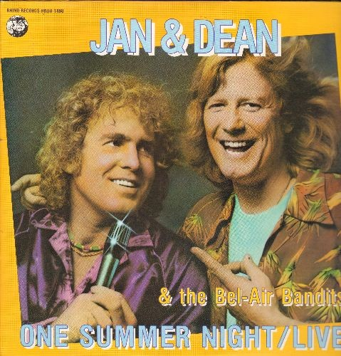 Jan & Dean & The Bel-Air Bandits - One Summer Night LIVE: Baby Talk, Linda, Surfin' U.S.A., Good Vibrations, I Get Around, Do You Wanna Dance (2 vinyl LP records, gate-fold cover) - M10/NM9 - LP Records
