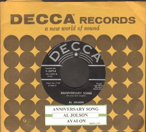 Jolson, Al - Anniversary Song/Avalon (with juke box label and vintage Decca company sleeve) - EX8/ - 45 rpm Records