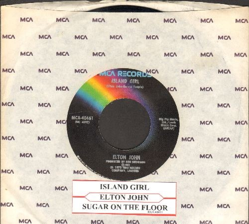 John, Elton - Sugar On The Floor/Island Girl (with MCA company sleeve and juke box label) - EX8/ - 45 rpm Records