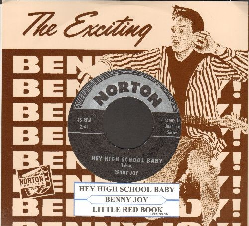 Joy, Benny - Hey High School Baby/Little Red Book (re-issue of RARE Vintage Rock-A-Billy recordings, with juke box label Benny Joy picture sleeve!) - M10/M10 - 45 rpm Records