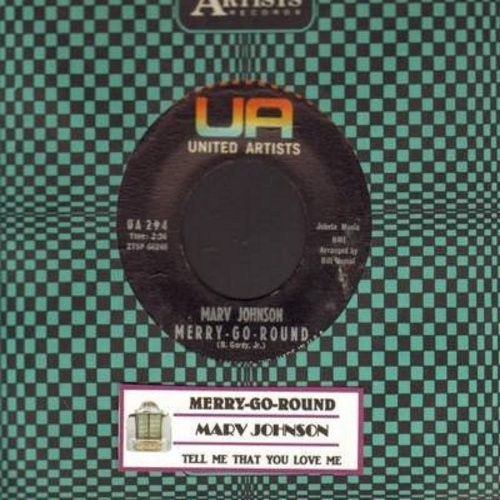 Johnson, Marv - Merry-Go-Round/Tell Me That You Love Me (with vintage United Artists company sleeve) - EX8/ - 45 rpm Records