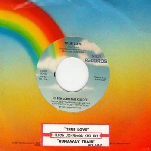 John, Elton & Kiki Dee - True Love/Runaway Train (with Eric Clapton) - NM9/ - 45 rpm Records