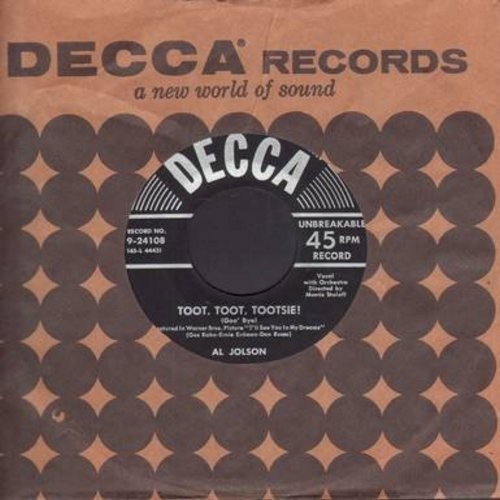 Jolson, Al - Toot, Toot, Tootsie!/Back In Your Own Back Yard (black/silver lines label early 50s issue with vintage Decca company sleeve) - VG7/ - 45 rpm Records