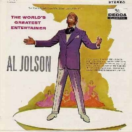 Jolson, Al - The World's Greatest Entertainer: When You Were Sweet Sixteen, Baby Face, She Is Ma Daisy, I'll Be Seeing You, Alabamy Bound (Vinyl LP record, enhanced for STEREO, burgundy label) - M10/VG7 - LP Records