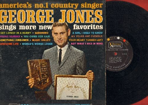 Jones, George - More New Favorites: Something I Dreamed, Geronimo, I Get Lonely In A Hurry, My Tears Are Overdue (vinyl MONO LP record) - VG7/VG7 - LP Records