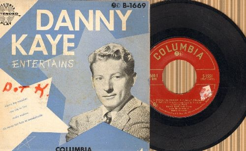 Kaye, Danny - Danny Kaye Entertains: Minnie The Moocher/One Life To Live/Molly Malone/It's Never Too Late To Mendelssohn (vinyl EP record with picture cover) - EX8/VG6 - 45 rpm Records