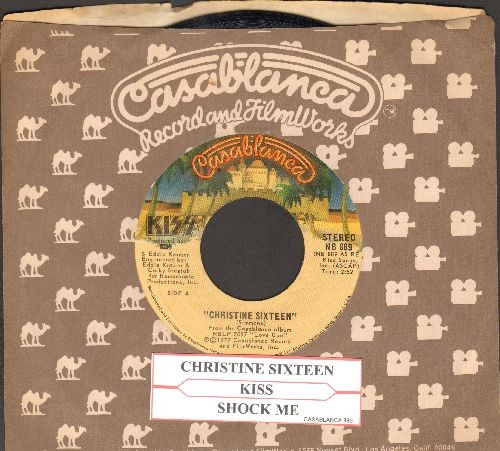 KISS - Christine Sixteen/Shock Me (with Casablanca company sleeve and juke box label) - EX8/ - 45 rpm Records