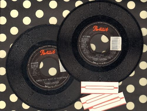 Lauper, Cyndi - 2 original 45s for the price of 1!: Girls Just Want To Have Fun/She Bop - Shipped with 3 blank juke box labels, GREAT gift for a fan! - NM9/ - 45 rpm Records