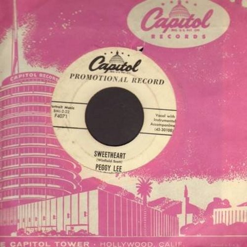 Lee, Peggy - Sweetheart/Light Of Love (DJ advance copy with vintage Capitol company sleeve) - VG7/ - 45 rpm Records