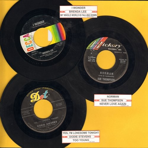 Lee, Brenda, Dodie Stevens, Sue Thompson - Vintage Girl Sound 3-Pack: Original pressings with juke box label. Hits include Norman, Yes I'm Lonesome Tonight and I Wonder. Shipped in plain white paper sleeves. GREAT for a juke box! - VG7/ - 45 rpm Records
