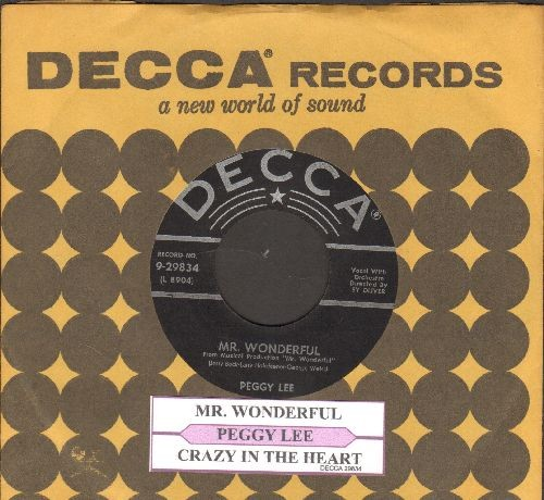 Lee, Peggy - Mr. Wonderful/Crazy In The Heart (with juke box label and vintage Decca company sleeve) - EX8/ - 45 rpm Records
