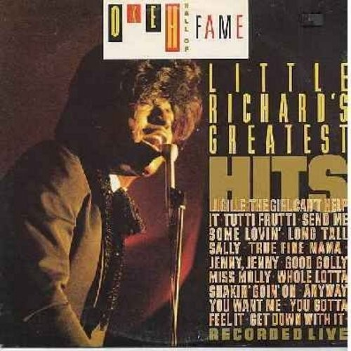 Little Richard - O'Keh Hall Of Fame - Little Richard's Greatest Hits (Recorded LIVE!): Lucille, The Girl Can't Help It, Send Me Some Lovin', Long Tall Sally, Good Golly Miss Molly, Whole Lotta Shakin' Goin' On (Vinyl LP record, 1986 issue, DJ advance copy