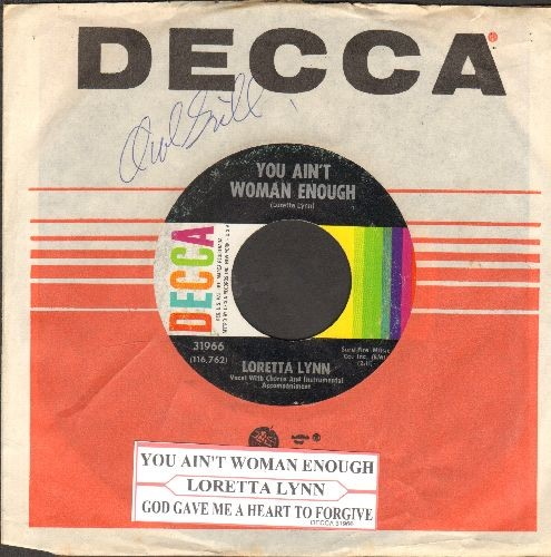 Lynn, Loretta - You Ain't Woman Enough/God Gave Me A Heart To Forgive (with Decca company sleeve and juke box label) - EX8/ - 45 rpm Records
