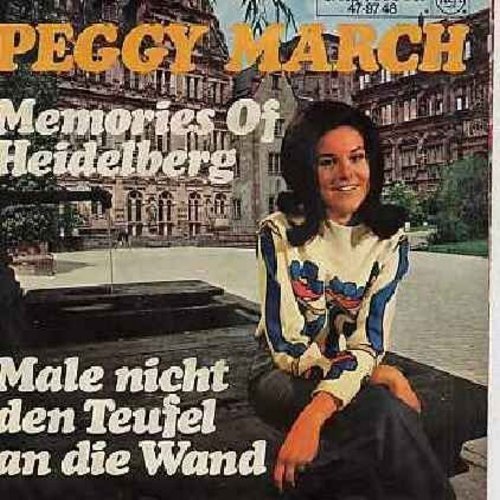 March, Peggy - Memories Of Heidelberg/Male nicht den Teufel an die Wand (German pressing, sung in German, with picture sleeve) - NM9/EX8 - 45 rpm Records
