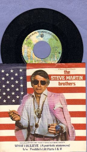 Martin, Steve Brothers - What I Believe (A patriotic statement)/Freddie's Lilt (Parts 1 + 2)  (with picture sleeve) - NM9/EX8 - 45 rpm Records